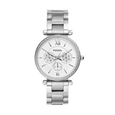FOSSIL晶鑽簡約三眼時尚腕錶ES4541