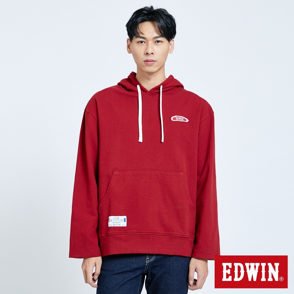 EDWIN 塗鴉系列 顏料徽章 厚連帽T恤-男-朱紅色