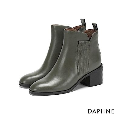 達芙妮DAPHNE 短靴-牛皮拼接幾何條紋彈力粗跟短靴-軍綠