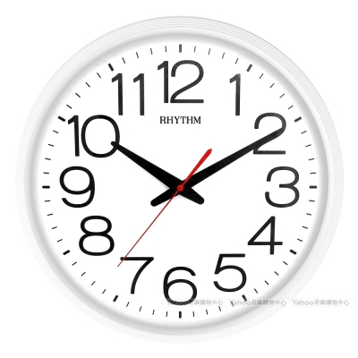 RHYTHM日本麗聲 經典簡約大字體靜音掛鐘(極簡白)/36cm