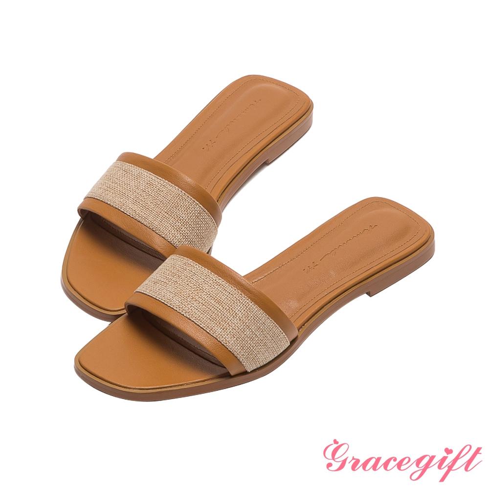 Grace gift X Amanda聯名-全真皮拼接亞麻平底涼拖鞋 棕