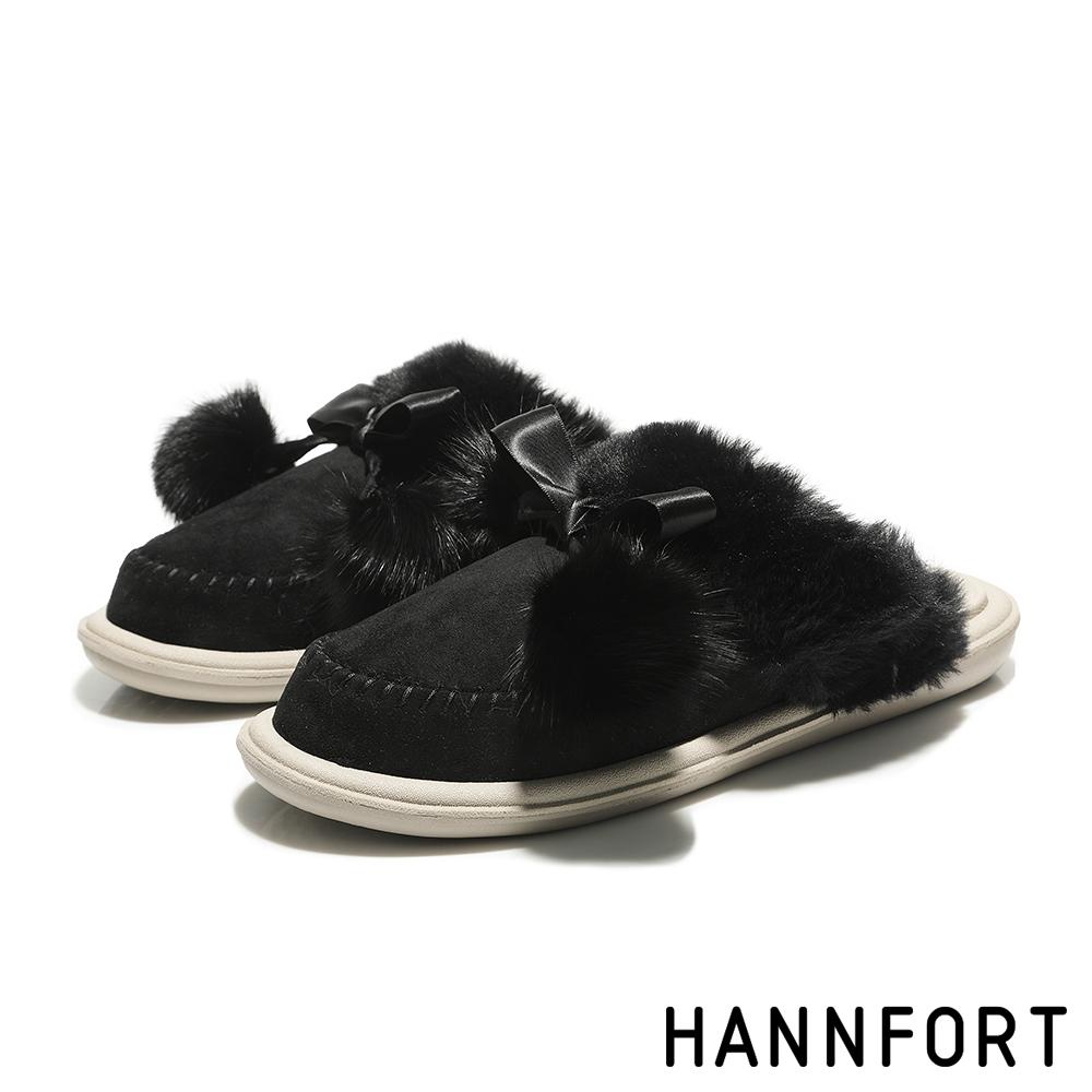 HANNFORT COZY絨布毛球拖鞋 女 奢華黑