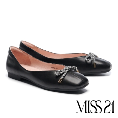 低跟鞋 MISS 21 小別緻復古蝴蝶結設計全真皮方頭低跟鞋-黑