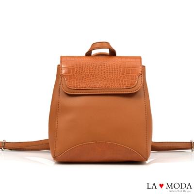 La Moda 品味生活蛇紋壓紋面料多背法大容量斜背後背包(棕)