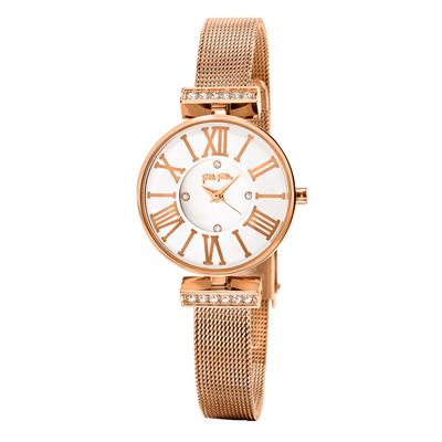 Folli Follie 晶緻閃耀浪漫米蘭腕錶-玫瑰金(WF15B028BSM-XX)