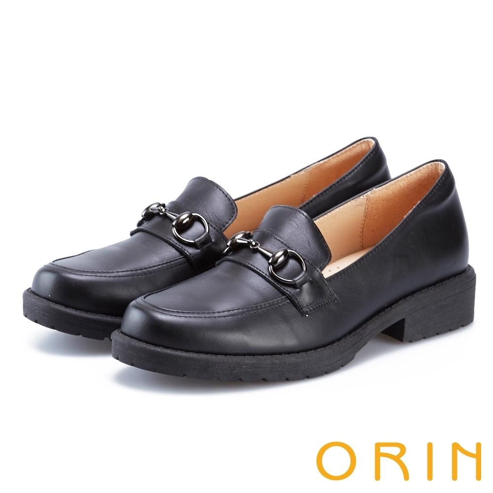 ORIN 復古金屬馬銜釦樂福粗低跟鞋 黑色