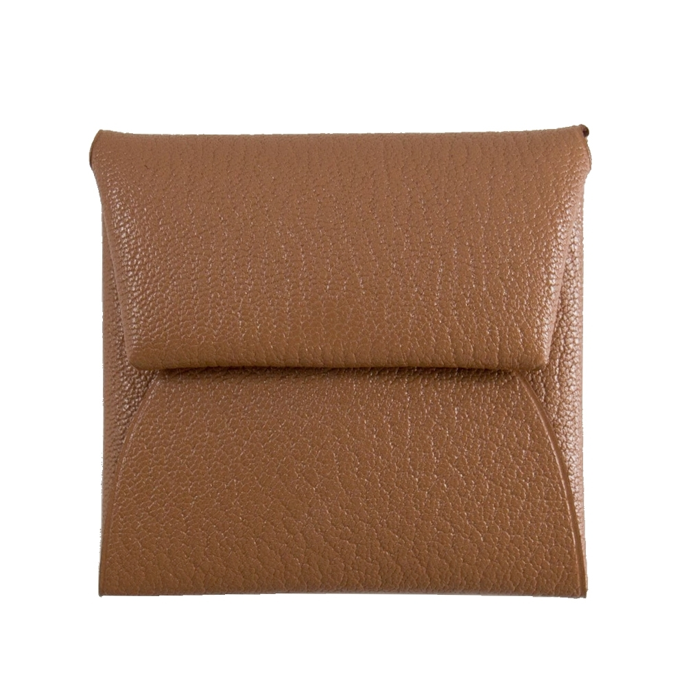 HERMES Bastia 山羊皮 方型暗釦零錢包 (棕色 Quebracho) Mysore