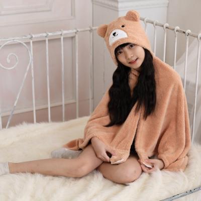 【MORINO摩力諾】動物造型速乾兒童連帽罩袍 披風 抱枕(小熊) 附提袋