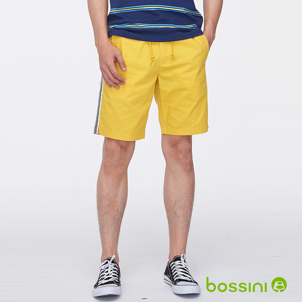 bossini男裝-素色邊條休閒短褲黃