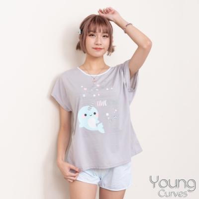睡衣 彈性棉質短袖兩件式睡衣(C01-100722還我漂漂魚) Young Curves