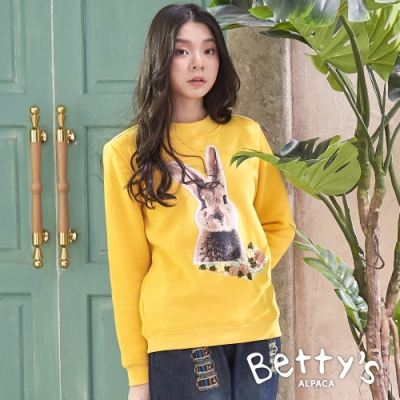 betty's貝蒂思 內刷毛休閒大學棉T-shirt(黃色)