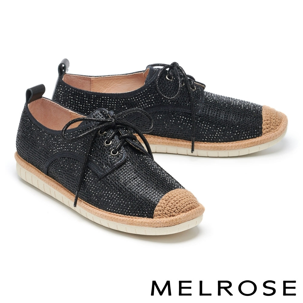 休閒鞋 MELROSE 奢華閃耀水鑽造型綁帶厚底休閒鞋-黑
