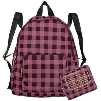 COACH紫咖格紋尼龍折疊收納環保後背包