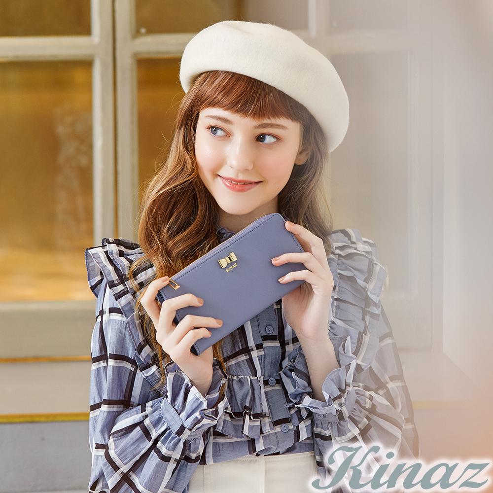 KINAZ 唯美期許L型拉鍊長夾-糖霜淺藍-甜蜜禮盒系列-快
