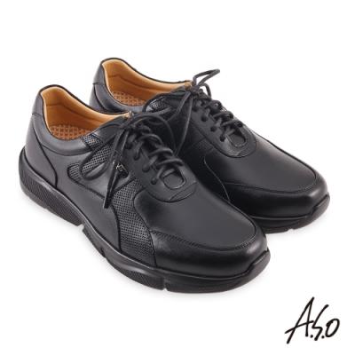 A.S.O 機能休閒 3D超動能綁帶商務休閒鞋-黑