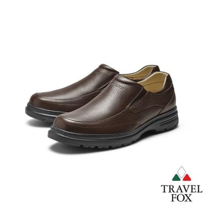 TRAVEL FOX(男) 大齡男子牛皮輕量大底側釦式休閒鞋 -方便黑