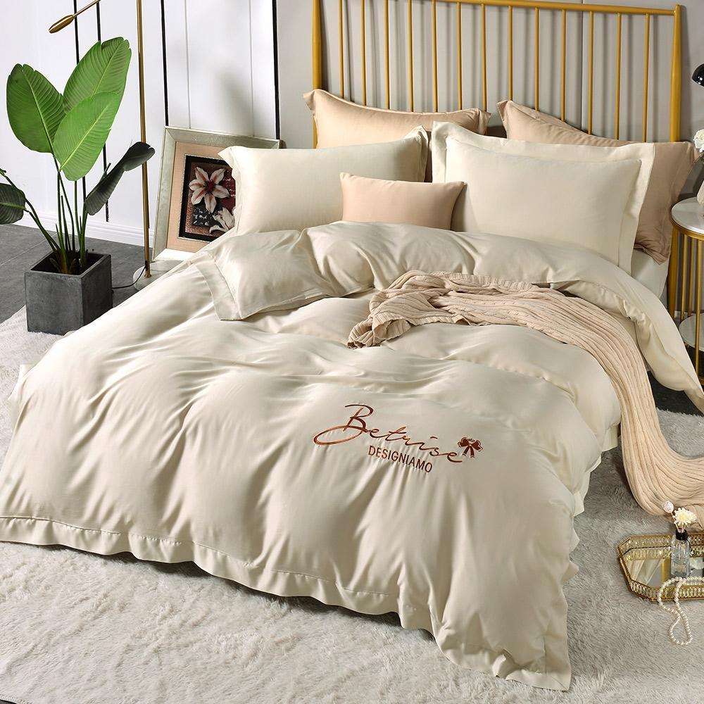 (超值加購枕套) Betrise極簡純色 抗菌天絲素色刺繡系列 超值薄被套+薄枕套床包組 (06.窗台秘密-雙人床包枕套三件組)