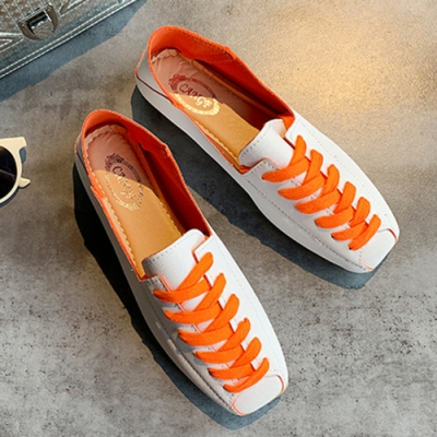 KEITH-WILL時尚鞋館 單色潮流綁帶平底鞋-橘色