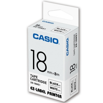 CASIO 標籤機專用色帶-18mm【共有<b>9</b>色】白底黑字XR-18WE1