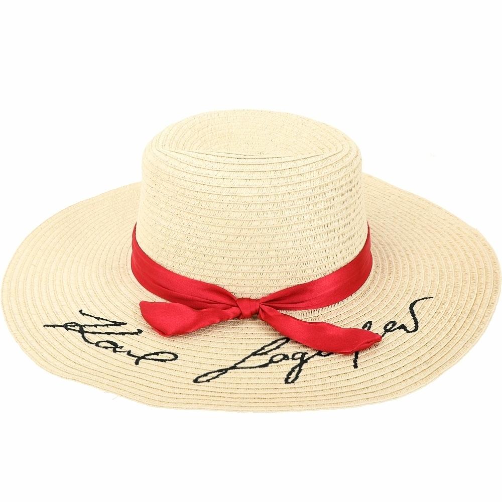 KARL LAGERFELD K/Signature 紅色緞帶法式寬簷草編帽