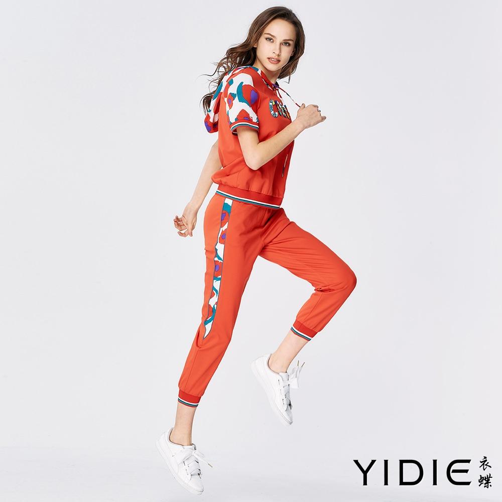 YIDIE衣蝶 花卉拼接字母連帽九分褲套裝-桔紅(上下分開販售)
