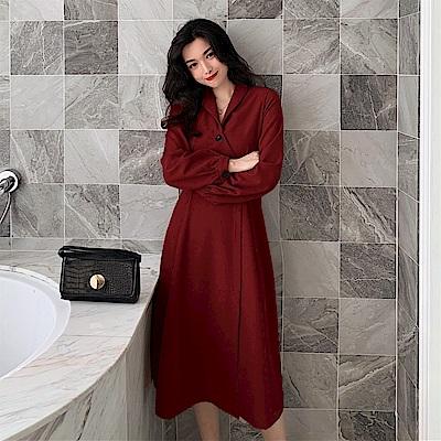 DABI 韓國風收腰顯瘦氣質v領長袖洋裝