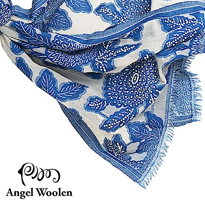 【Angel Woolen】采逸印度手工串珠羊毛披肩-藍