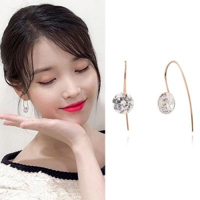 梨花HaNA 韓國925銀月之酒店德魯納鑽石水晶耳勾耳環