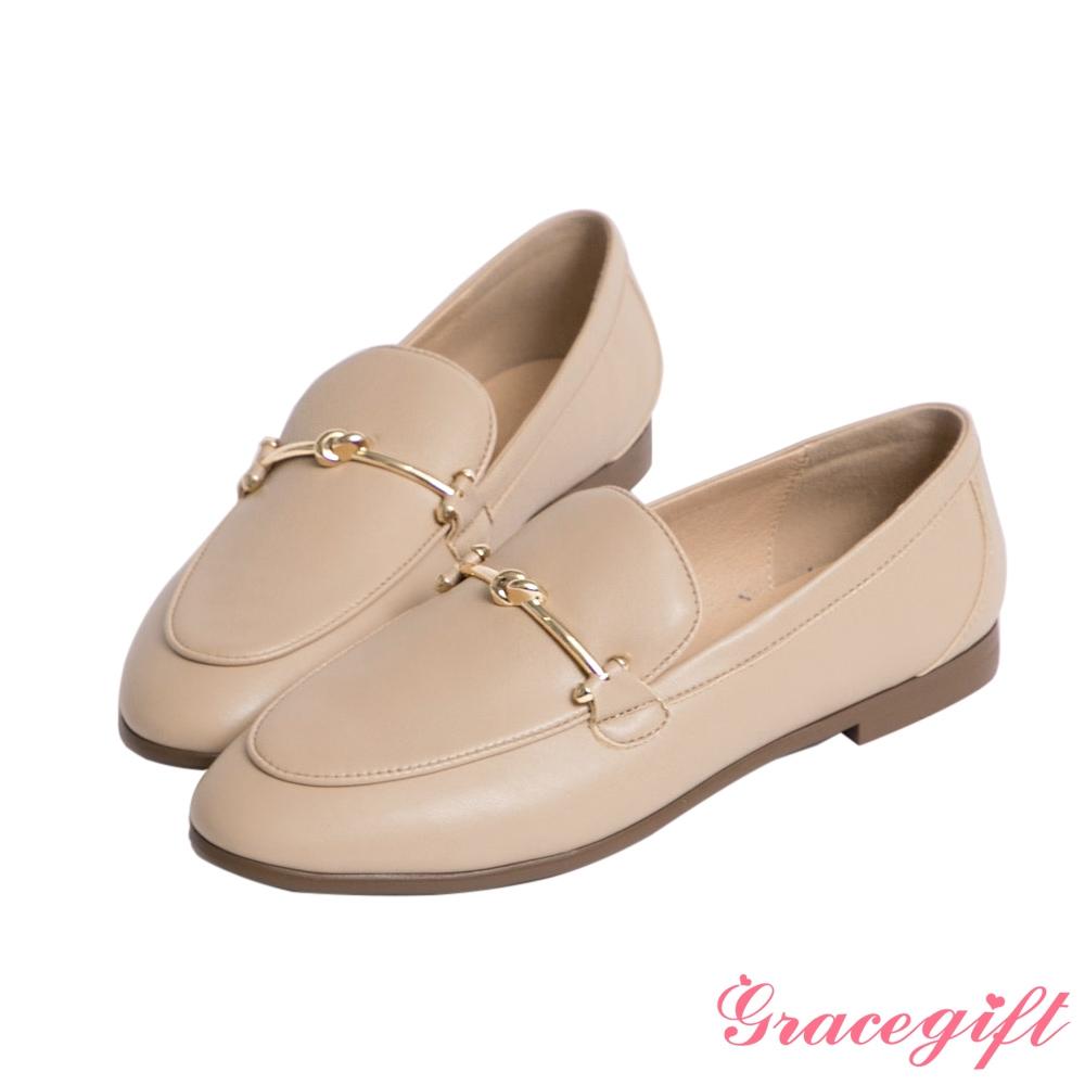 Grace gift-金屬扭結平底樂福鞋 杏