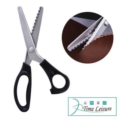 Time Leisure 服裝裁縫專用布花邊波浪造型三角齒剪刀 5mm