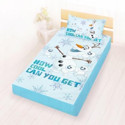 享夢城堡 單人床包枕套3.5x6.2二件組-冰雪奇緣FROZEN迪士尼 雪寶與小雪人-藍