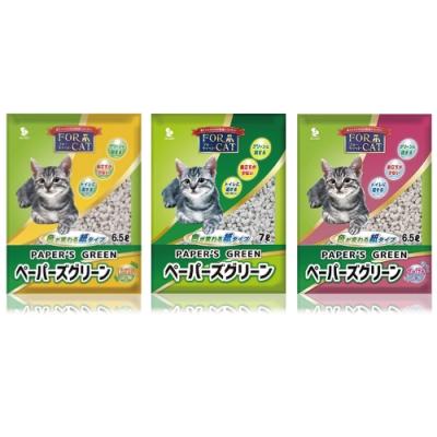 日本FORCAT-變色凝結紙貓砂《無香/檜木香/肥皂香》四包組