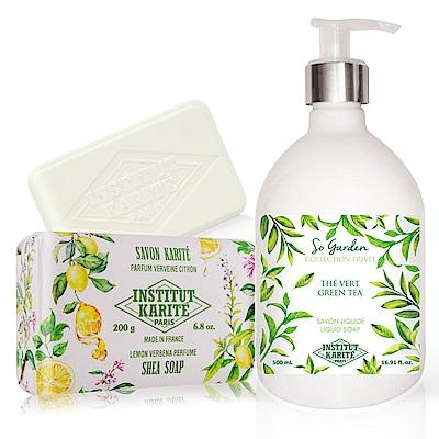 IKP 巴黎乳油木 綠茶花園香氛液體皂500ml+檸檬馬鞭草手工皂200g