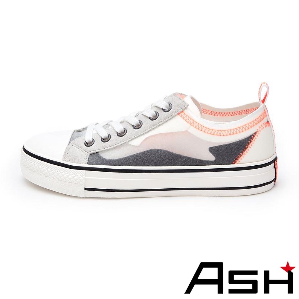 ASH-VERTU時尚蟬翼網面撞色低筒厚底帆布鞋-白