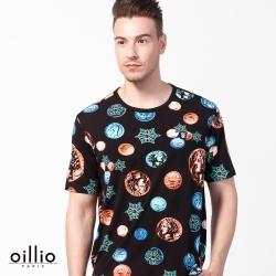 oillio歐洲貴族 涼感透氣穿搭圓領T恤 超柔軟抗皺衣料 黑色
