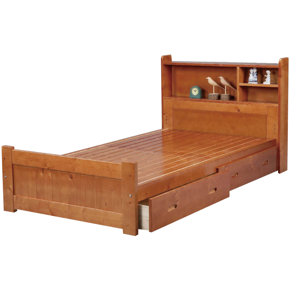 綠活居 西斯時尚3.5尺實木單人雙抽屜床台(二色可選)-105x195x90cm免組