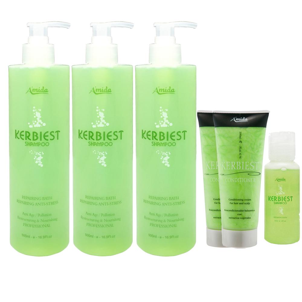 Amida葉綠素頭皮清涼獨家6件組(洗髮精500ml*3+護髮素200ml*2+60ml)