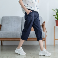 慢 生活 鬆緊腰造型棉料蘿蔔褲- 深藍