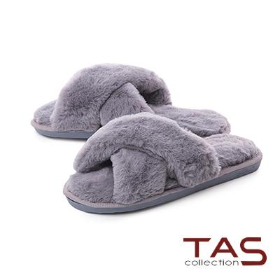 TAS寬版交叉素面絨毛室內拖鞋-名媛灰