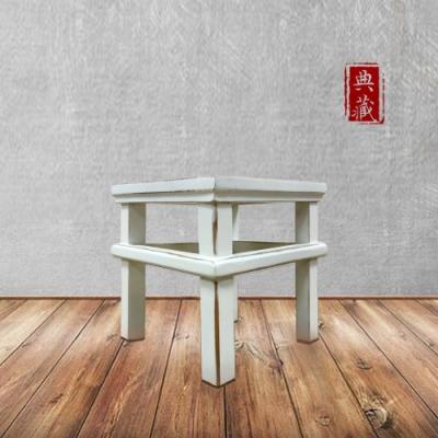 E-home 文藝復興實木小方凳 白色