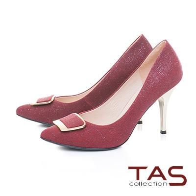 TAS方形金屬扣飾豚皮高跟鞋-熱艷紅