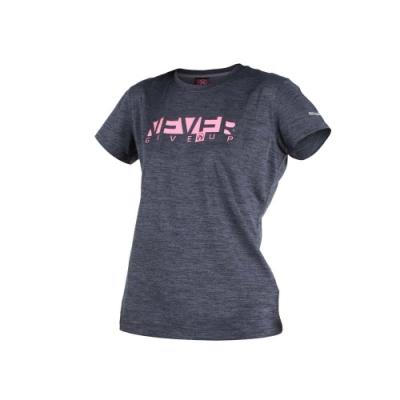 FIRESTAR 女短袖吸排圓領衫-短T T恤 慢跑 路跑 深灰粉