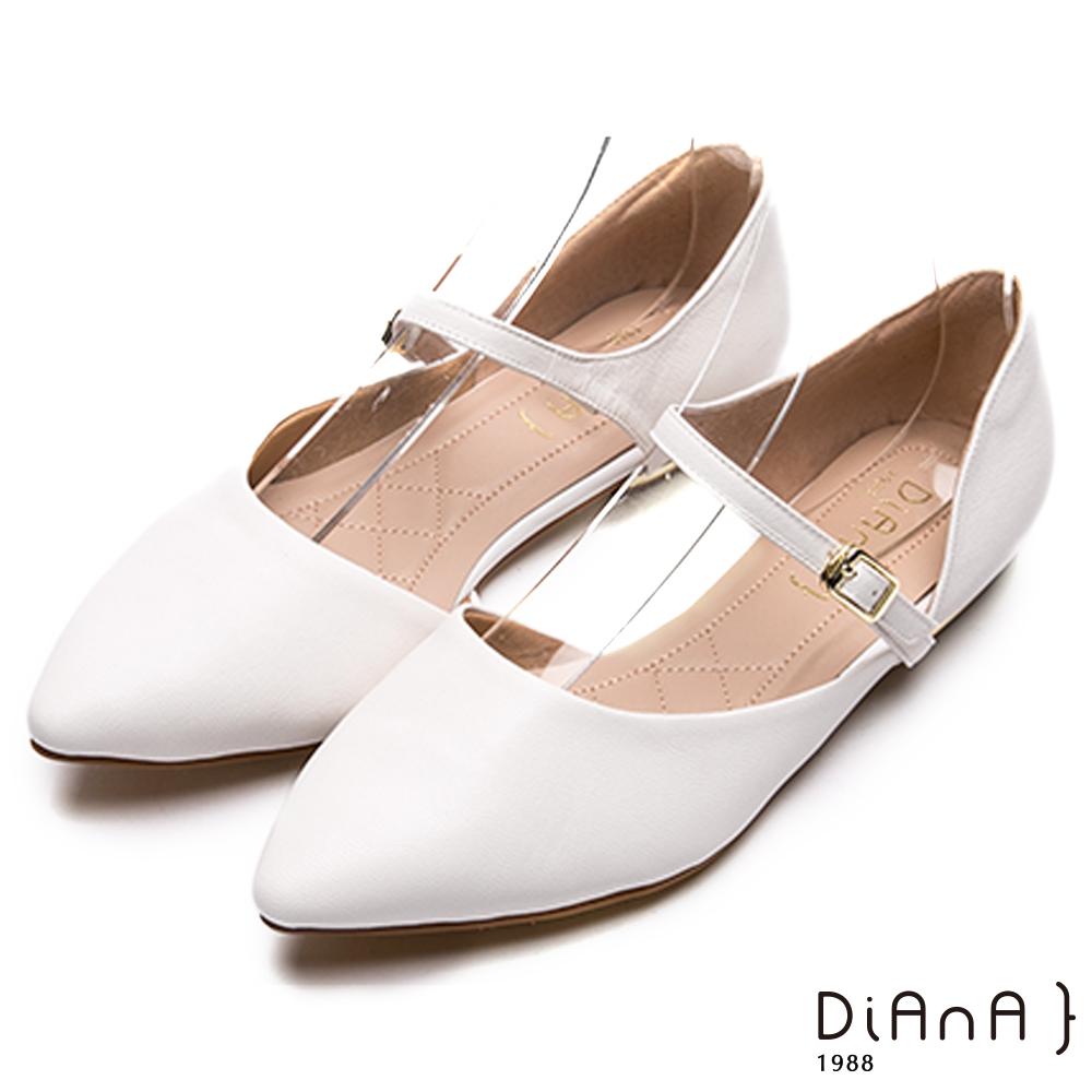 DIANA真皮繫帶側空涼鞋-高貴優雅-白