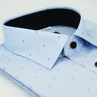 【金安德森】 藍色雙點黑內領窄版長袖襯衫fast