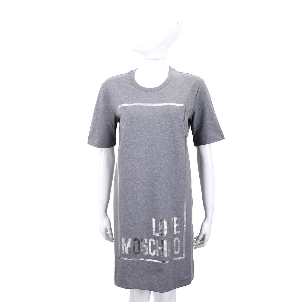 LOVE MOSCHINO 燙銀方框字母灰色棉質短袖洋裝