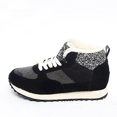 【AIRKOREA韓國空運】保暖內鋪毛綁帶內增高休閒鞋-黑-增高4.5公分
