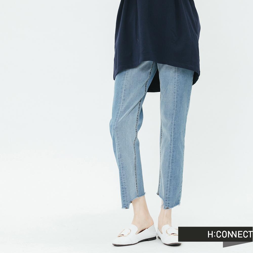 H:CONNECT 韓國品牌 女裝-立體縫線不收邊牛仔褲