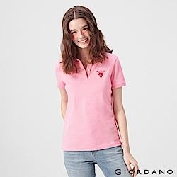 GIORDANO 女裝麋鹿漸層刺繡短袖POLO衫-28 紅粉菲菲