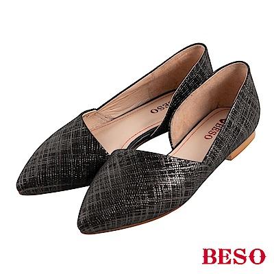 BESO 品味風格 素面斜口尖楦低跟鞋~黑