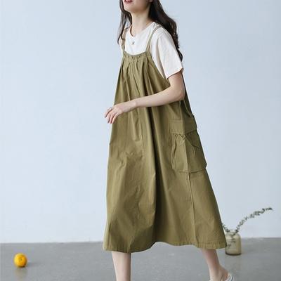背帶裙純棉短袖T+背帶裙顯瘦套裝裙兩件套三色可選-設計所在